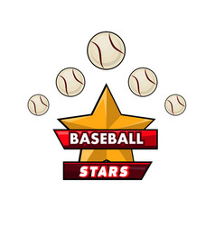 Baseball stars logotype design with small balls vector