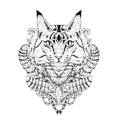 Black and white animal Cat head abstract art vector image