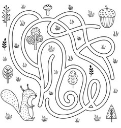 black and white labyrinth game for kids help the vector image