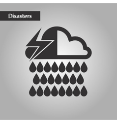 Black and white style thunderstorm rain cloud vector