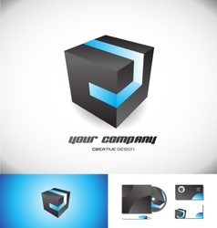 Black cube blue stripe 3d logo icon design vector