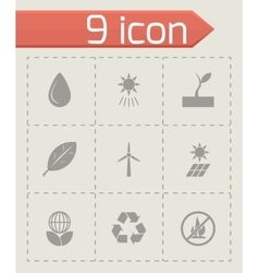 black eco icon set vector image