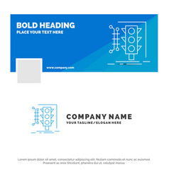 Blue business logo template for city management vector