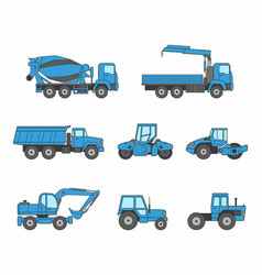 blue construction machines icons set vector image