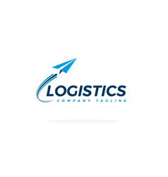 blue logistics logo with airplane taking off vector image
