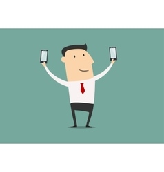 Businessman makes two selfie shot vector