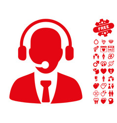 call center icon with lovely bonus vector image