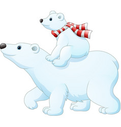Cartoon baby polar bear riding on her mother vector