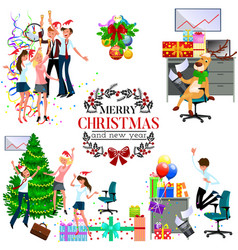 Cartoon christmas party at work in office vector