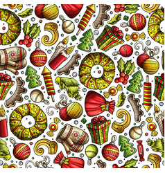 cartoon cute hand drawn xmas seamless pattern vector image