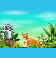 cartoon different animal in the park vector image