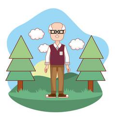 cartoon old man design vector image