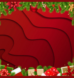 christmas border with fir tree red background vector image