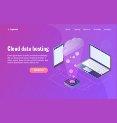 cloud data hosting with phone vector image