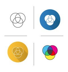 cmyk or rgb color circles icon vector image