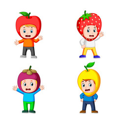 collection of the cute boys using the fruits vector image