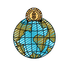 Color crayon silhouette money box in globe earth vector