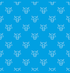 Cow head pattern seamless blue vector