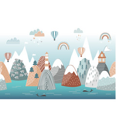 Cute seamless landscape pattern with sea waves vector