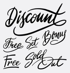 Discount and bonus hand written typography vector