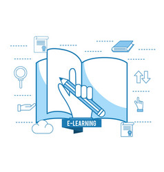 Elearning book education and hand with pencil vector