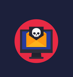 Email with virus spam icon vector