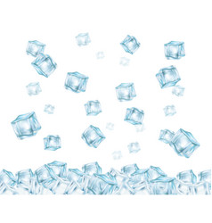 falling ice cubes 3d realistic vector image