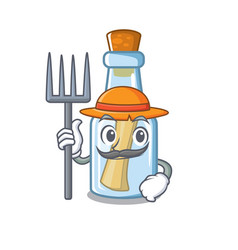 farmer message in bottle isolated with cartoon vector image