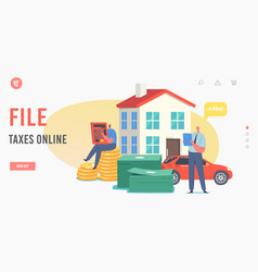 file taxes online landing page template tiny male vector image