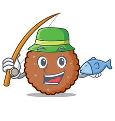 Fishing chocolate biscuit mascot cartoon vector