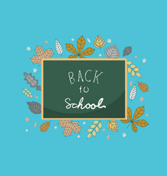 flat back to school background with lettering and vector image