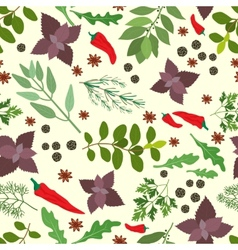 Fresh herbs and spices seamless pattern vector