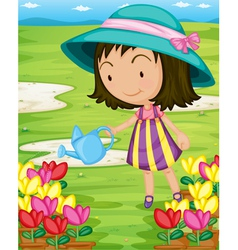 Girl watering plants vector image vector image