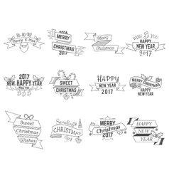 Happy Christmas wishes collection with ribbons and vector image