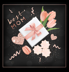 happy mothers day banner with flowers design vector image