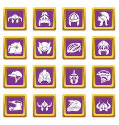 Helmet icons set purple square vector