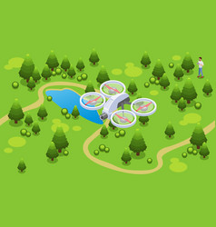 isometric drone shooting video concept vector image
