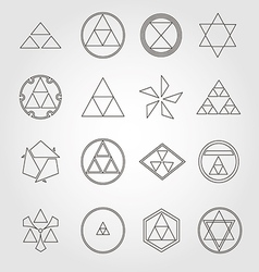 Japan religious symbols sacred geometry set vector