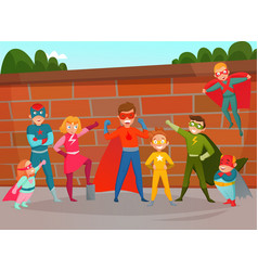 kids team superheroes composition vector image