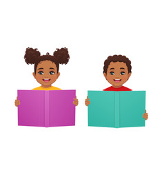 Kids with book vector