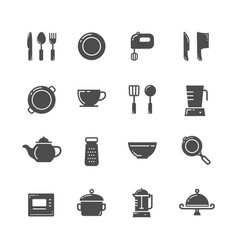 kitchen icons set image vector image