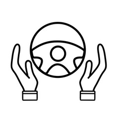 line person hands driving steering wheel vector image