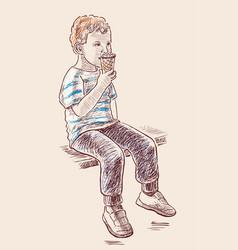 Little boy eats ice cream vector