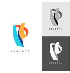 logo design element letter symbol p vector image