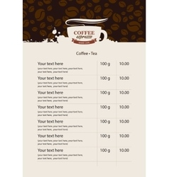 menu price list for coffee beans vector image