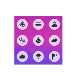 Meteorology icons set collection of flag vector