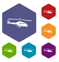Military helicopter icons set vector image