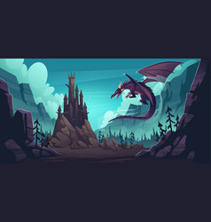 Mountain landscape with castle and dragon vector