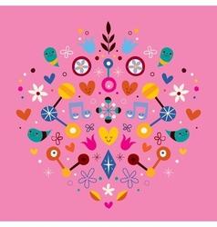 Nature love harmony heart abstract art vector