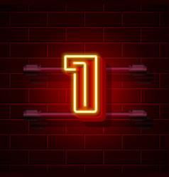 Neon city font number 1 vector